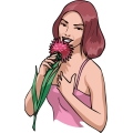 lady smelling a rose. gif, jpg