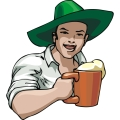 A Happy Man Wearing a Green Irish Hat holding a Mug of beer