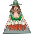 a pretty irish girl serving a tray of beers gif, png, jpg