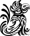 Black and white tribal parrot right-facing