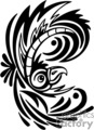 Black and white tribal art of bird with large crested plumage