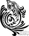 Black and white tribal art of rising phoenix, left-facing