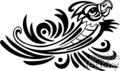 Black and white tribal art of parrot in midflight