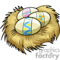 Three Decorated Easter Eggs in a Nest