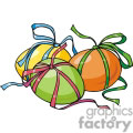 Three Easter Eggs with Colorful Ribbon on them