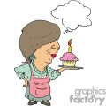 Women holding a cupcake with 1 candle in it