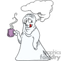 Ghost holding a coffee cup