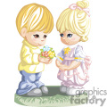 Little Boy Holding Flowers and Girl in Pink Standing Together