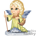 a little girl angel walking with a staff carrying a basket of apples gif, png, jpg, eps