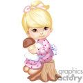 Little Brown Eyed Girl Sitting on a Tree stump Holding a Mushroom