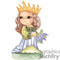 brown haired little princess holding blue flowers gif, png, jpg, eps