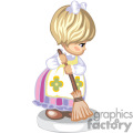A Little Girl Wearing a White Flower Apron Sweeping