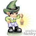 A kid leprechaun holding a old lamp