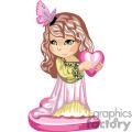 Little girl wearing a green and pink long dress holding a heart