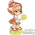 a little girl dressed in red holding a yellow and green bouquet of flowers gif, png, jpg, eps