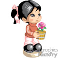 Black haired little girl holding a pink rose vase