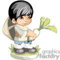 Asian boy holding a freshly picked turnip