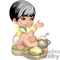 a little boy sitting crosslegged on the floor with a pot of rice gif, png, jpg, eps
