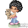 Little African American girl holding her teddy bear