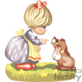 a little girl with a yellow apron telling her dog to stay gif, png, jpg, eps