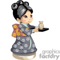 an asian girl in a gray kimono serving tea