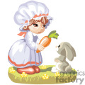 a little girl wearing a white dress giving a rabbit a carrot gif, png, jpg, eps