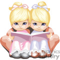 two little blue eyed girls in pink and blue reading a book