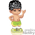 A curly black haired boy with no shirt and green shorts and tennis shoes