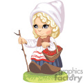 A little dutch girl holding a walking stick and a basket of cherries