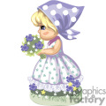 little girl holding a bouquet of flowers in a green flowered dress with a scarf on her head gif, png, jpg, eps