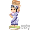 little indian girl holding in her head a bowl of food