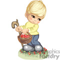 A boy with a walking stick and a basket of berries