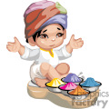 a little indian boy sitting with his legs crossed with bowls of icecream in front of him gif, png, jpg, eps