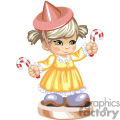 Little girl in a yellow dress with a pink hat holding candy canes