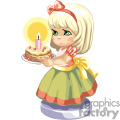 Blonde haired little girl in a party dress holding a birthday cake