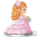 a red haired girl in a pink dress with a pink flower in her hair carrying a bouquet
