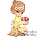 Little brown eyed Girl Holding a Basket of Apples