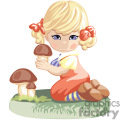 little blonde girl kneeling down holding a mushroom gif, png, jpg, eps
