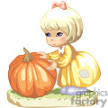 Cute little girl trying to find a pumpkin