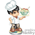 Little chef boy holding a spaghetti bowl