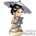 Asian girl in a brown and gold kimono holding a gray umbrella