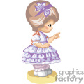 A Little Brown Haired Girl with a Purple Dress Pointing