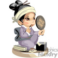 an asian girl putting on makeup while looking in the mirror gif, png, jpg, eps