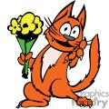 Cat holding flowers