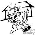 Black and white farmer cat holding a shotgun
