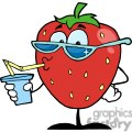 cartoon strawberry drinking a soda