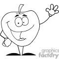 2830-Happy-Cartoon-Apple-Waving-A-Greeting