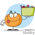 3207-Happy-Pumpkin-Character-Holding-Up-A-Tub-Of-Candy