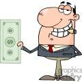 businessman holding a big dollar bill