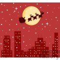 3144-Black-Silhouette-Of-Santa-And-A-Reindeers-Flying-In-A-Sleigh